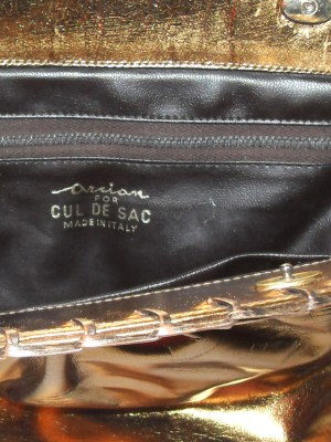 Cul de Sac Italy dark gold metallic leather bag