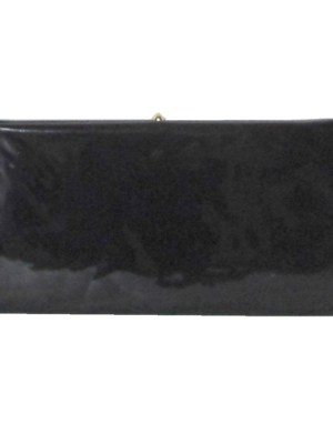 Black patent clutch bag with gold tone frame and clasp