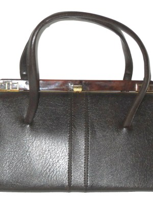 Large vintage dark brown framed handbag