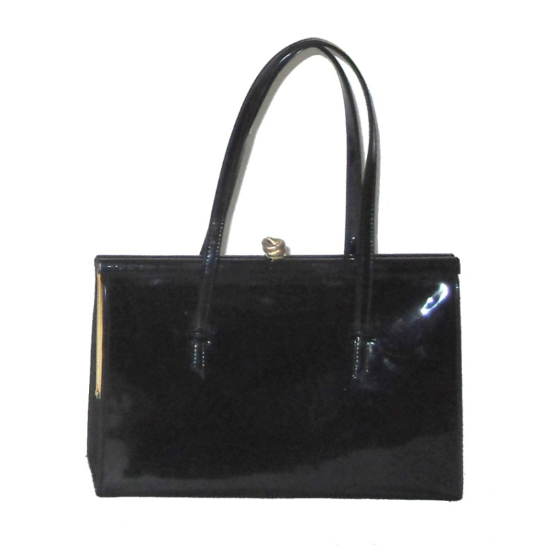 Alligator made in England framed black patent leather handbag