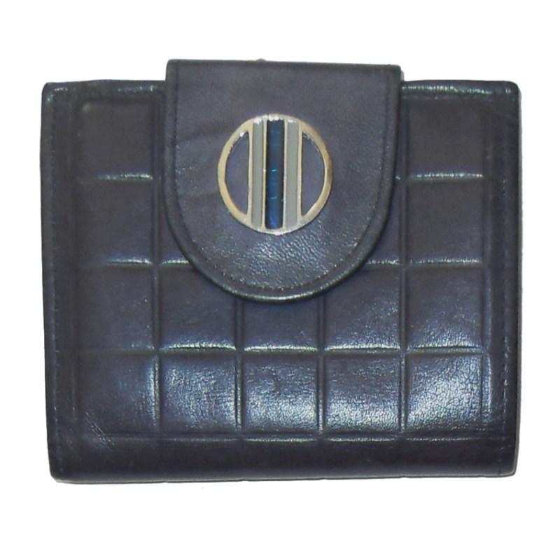Vintage Rolfs blue cowhide leather framed purse