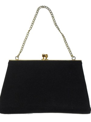 Dalawear England vintage black fabric framed evening bag