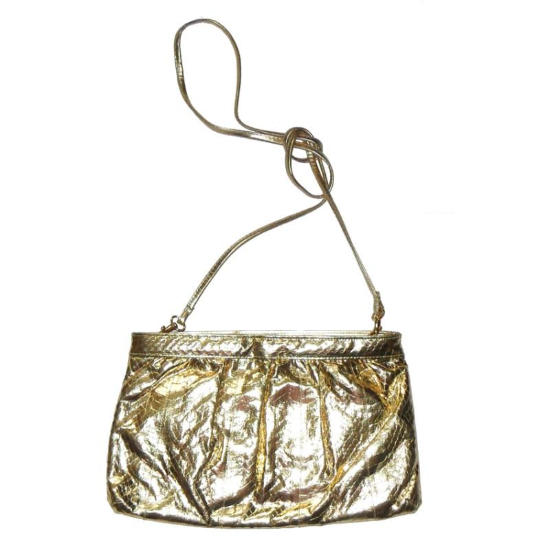 Saks Fifth Avenue gold snakeskin bag