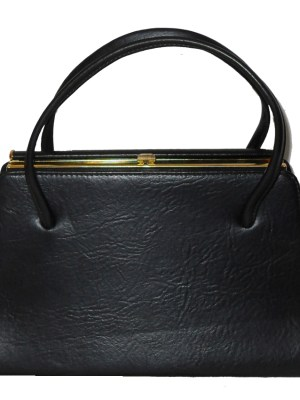 Maclaren large black vinyl framed handbag