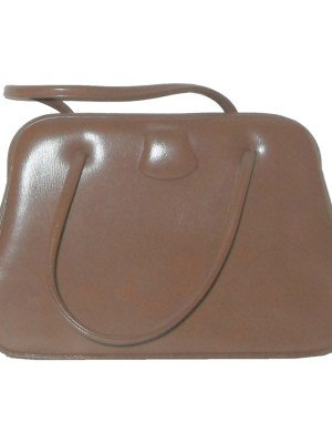 Soft brown framed handbag, made in England