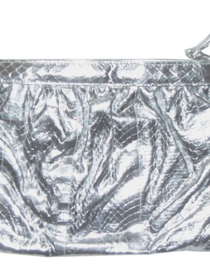 Saks of Fifth Avenue silver snakeskin shoulder clutch bag
