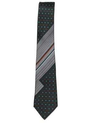 Vintage Pierre Cardin silk tie with dark green and silver grey design