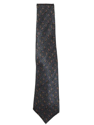 Lanvin tie with a blue and copper design