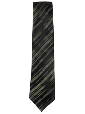 Green and black diagonal stripe silk tie