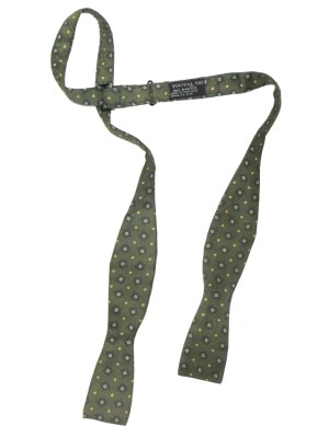 Tootal rayon olive green self tie bow tie