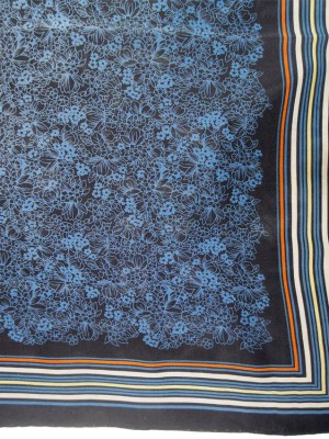 Vintage Italian silk scarf with a design of blue flowers on a navy background