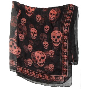 Long skull design scarf by Alexander McQueen, orange on black