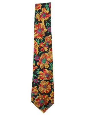 Vintage Liberty cotton tie with a floral design on a black background