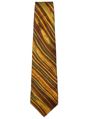Natural Silk tie in brow, dark gold and green