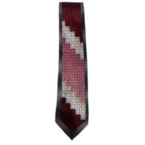 Silk satin tie with a geometric design by Stacy Adams