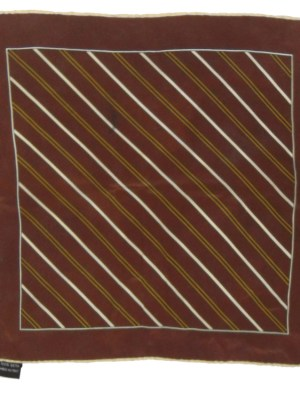 Brown silk pocket square with diagonal stripe design