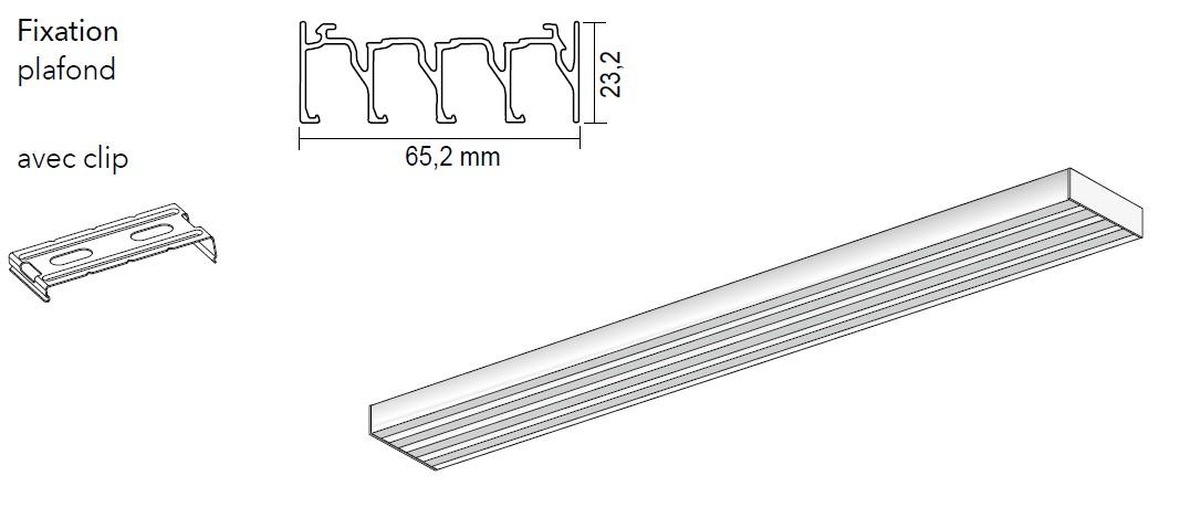 rail pour panneaux coulissants 4 canaux