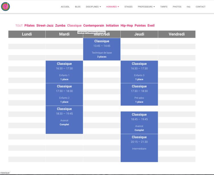 photo horaires web école de danse l'alternative sélection discipline