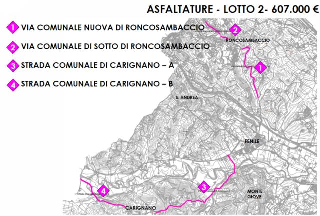 Iniziati i lavori di asfaltatura a Carignano e Roncosambaccio
