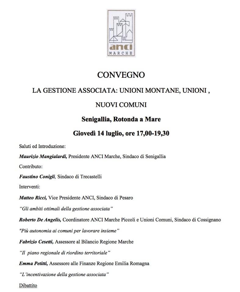 Senigallia, giovedì alla Rotonda si parla di gestione associata degli Enti locali