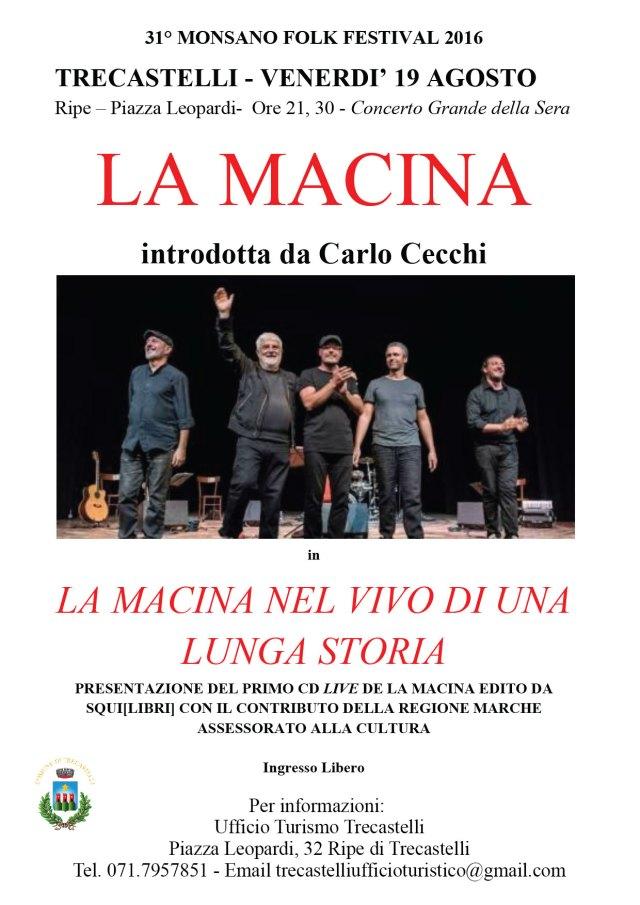 A Trecastelli un concerto de La Macina per celebrare la tradizione popolare
