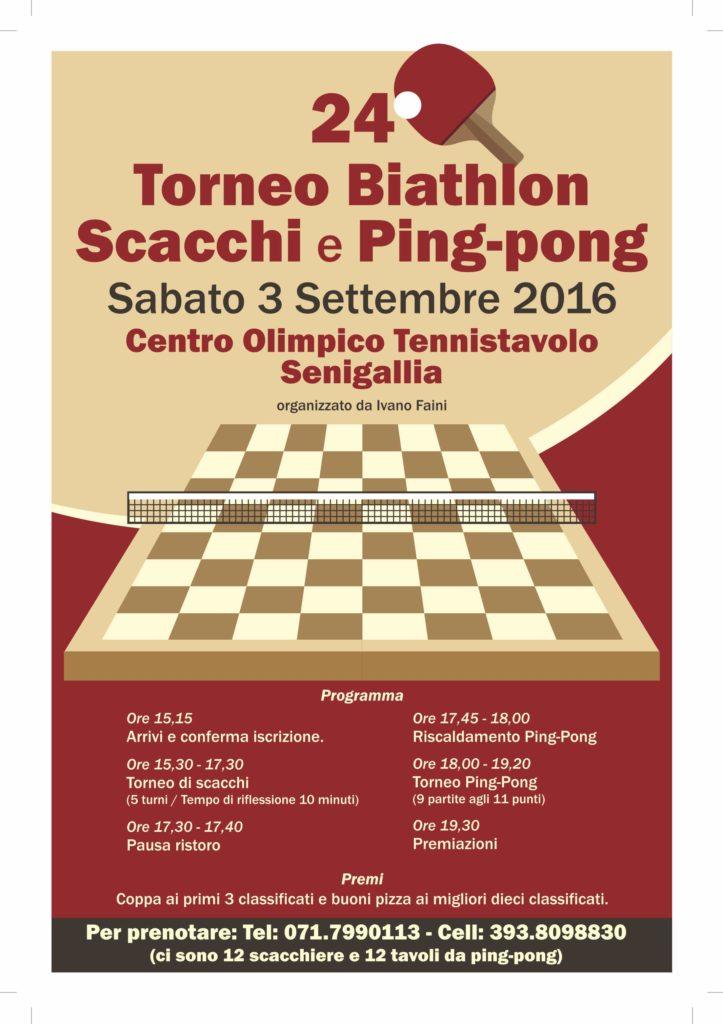 Sabato al Centro Olimpico di Senigallia il 24° biathlon scacchi-pingpong