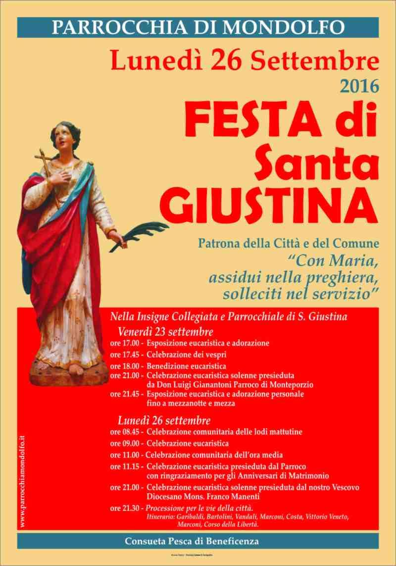 Lunedì Mondolfo festeggia la patrona Santa Giustina