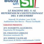 SENIGALLIA / Le ragioni del Sì al referendum costituzionale del 4 dicembre