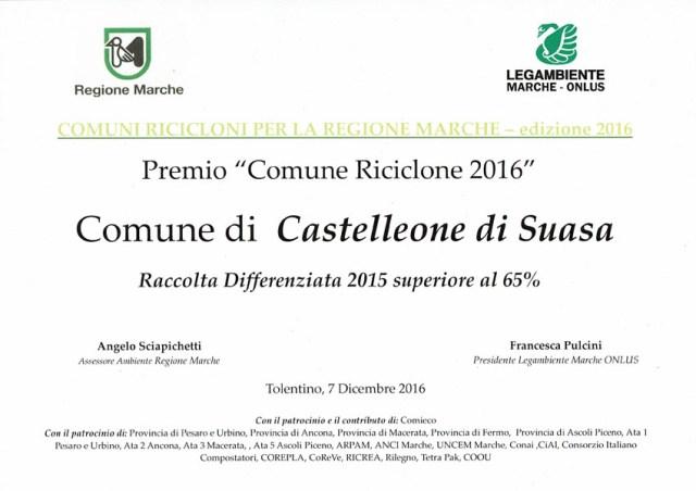 """Castelleone di Suasa premiato come """"Comune Riciclone 2016"""""""