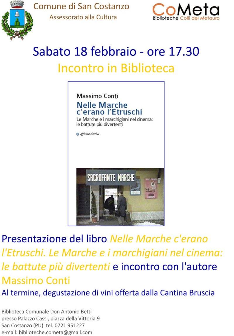 """Alla Biblioteca di San Costanzo si presenta """"Nelle Marche c'erano l'Etruschi"""" di Massimo Conti"""