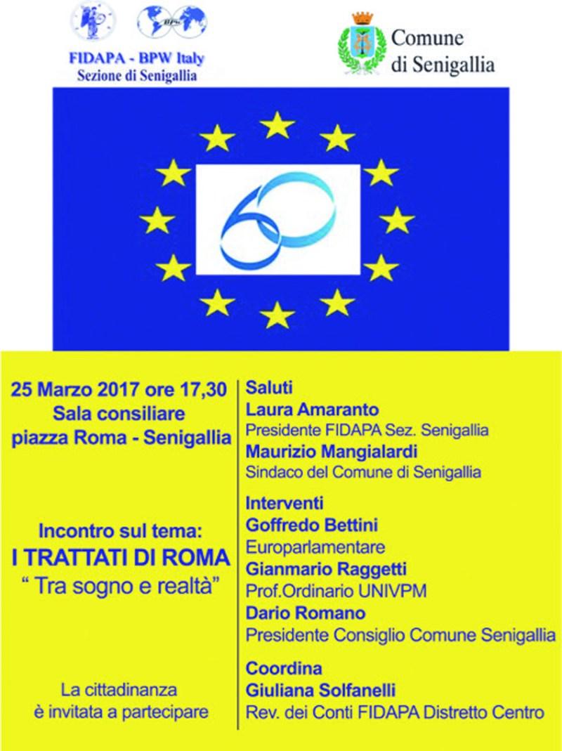 SENIGALLIA / Sabato alla Rotonda un incontro pubblico sui Trattati di Roma