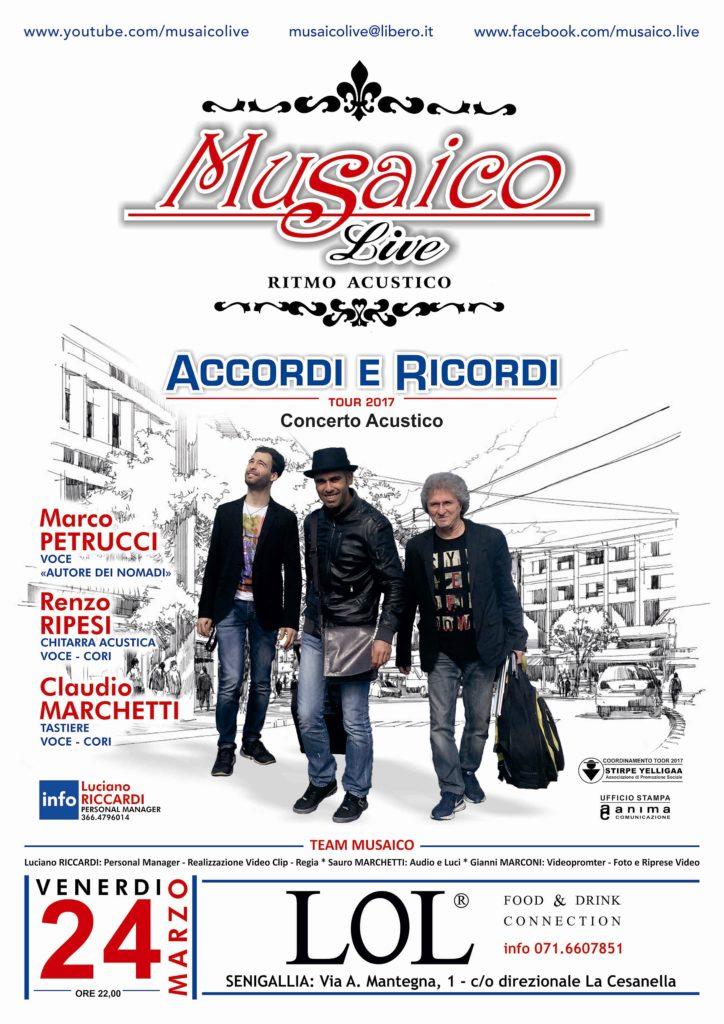 Parte da Senigallia l'Accordi e ricordi tour 2017 dei Musaico