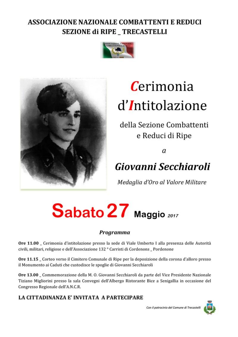 La Sezione Combattenti e Reduci di Ripe dedicata a Giovanni Secchiaroli, Medaglia d'oro al Valor Militare