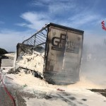 Tir distrutto dalle fiamme nei pressi del Codma, a Rosciano di Fano