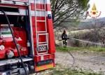 Vegetazione in fiamme alla periferia di San Marcello