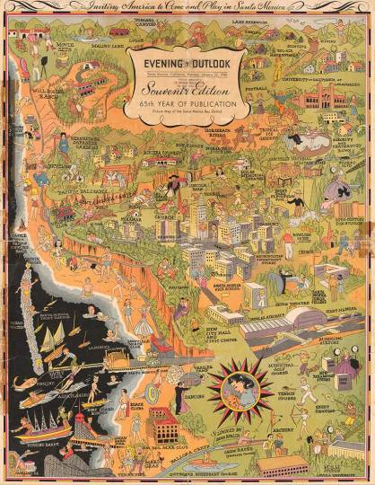 CityDig  In 1940 Santa Monica Was Literally the Best Place Ever     Picture Map of Santa Monica Bay District  Evening Outlook  Cartographer  Rena Roblin  1940