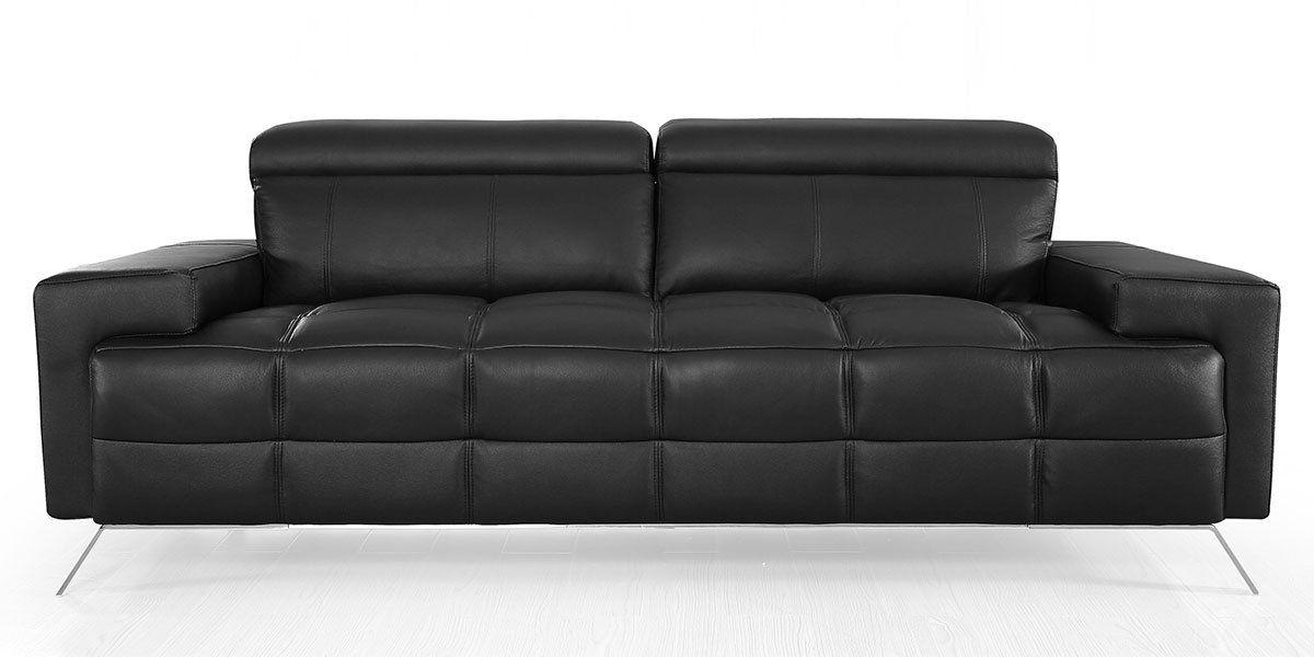 canape cuir 3 places design noir