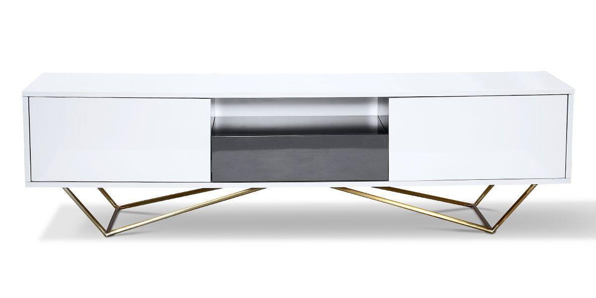 meuble tv laque acier jazz blanc gris gold