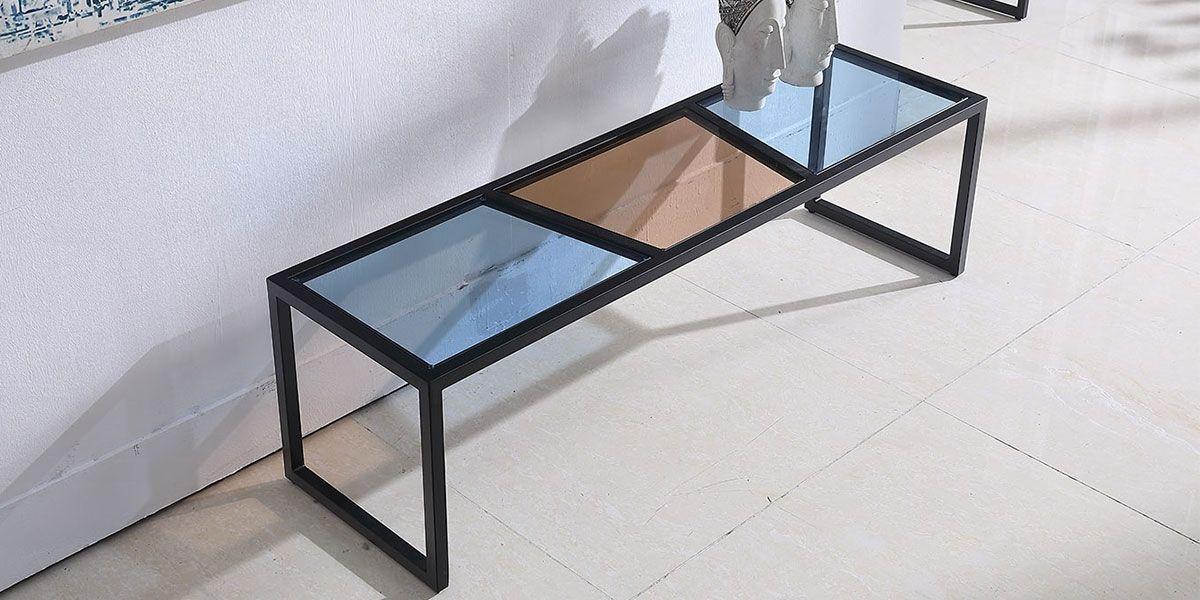 meuble tv verre esprit marron bleu