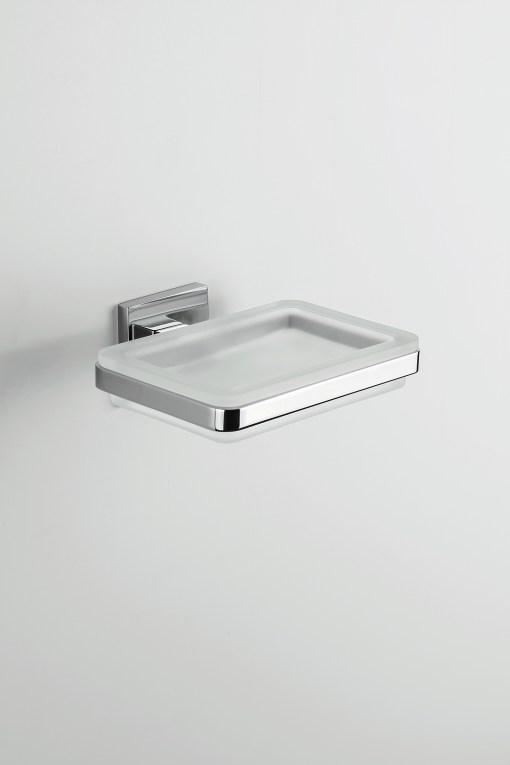 Colombo Design Arredo Bagno Basic Q B3701 PORTA SAPONE CROMO in VETRO ACIDATO NATURALE
