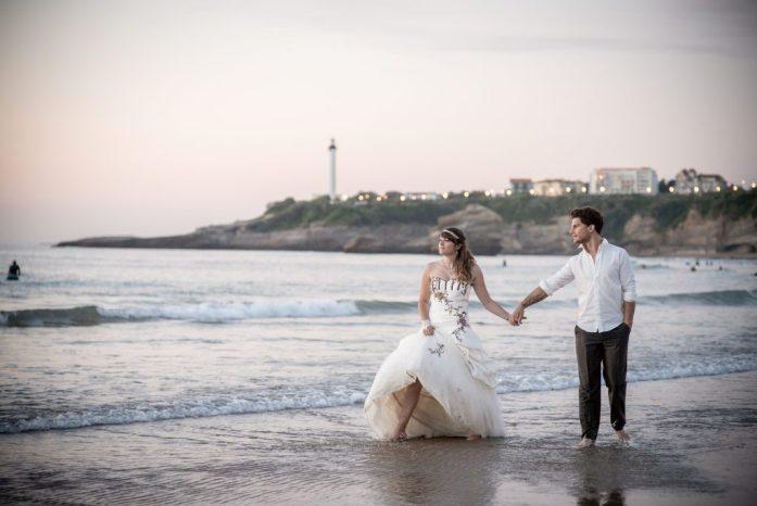 Day after mariage sur la plage de biarritz