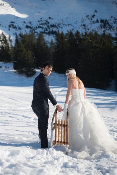 Day after mariage dans la neige