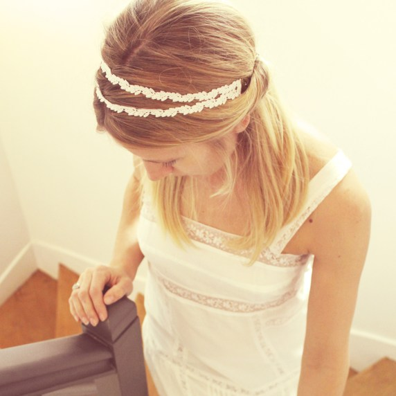 Headband bijou de tête LAURIER   Headband dentelle mariage Pemberley