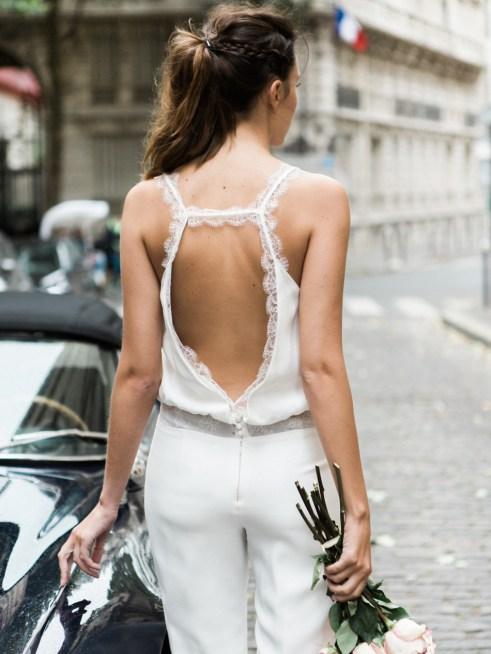Sophie Sarfati, Collection 2016 de robes de mariée, combinaison Tandem, vue de dos © Lifestories : Yann Audic