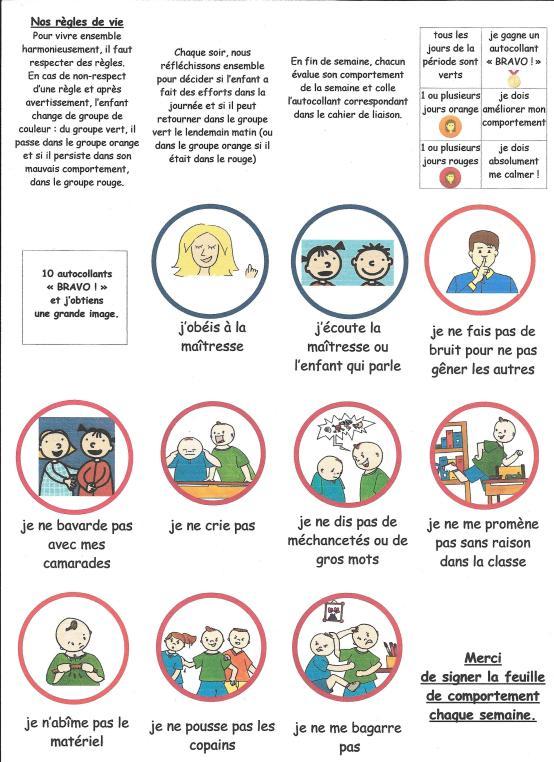 Les Règles De Vie La Maternelle De Nina