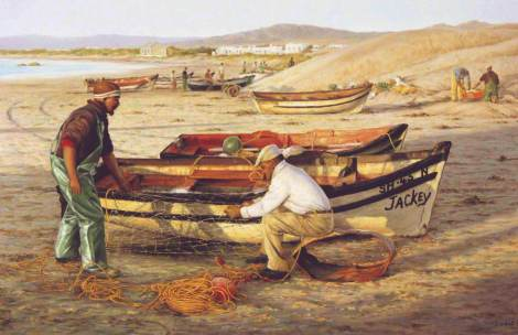 Mending Nets Paternoster, Oil on canvas, 60 x 90 cm