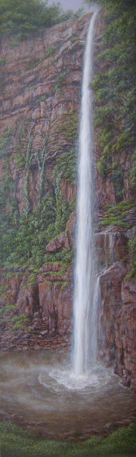 Waterfall, Oil on canvas:51.5 x 180 cm. Available from: www.coetzeeartgalleries.co.za
