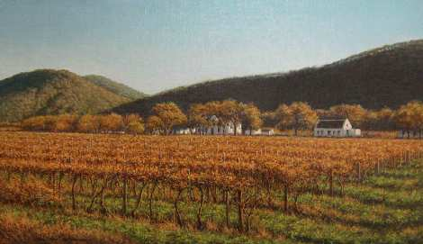 Wine Farm near Franschoek Oil on canvas 52.5 x 30 cm Available from: www.coetzeegalleries.co.za R 9 000