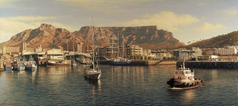 Waterfront with Cape Grace, Cape Town Oil on canvas Approx 270 x 120 cm