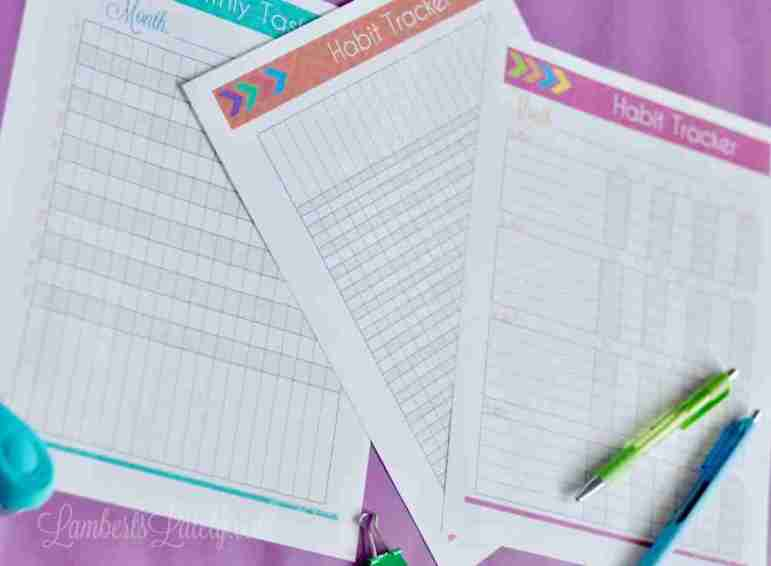 This Habit Tracker Printables set is awesome! It has daily, monthly, and weekly formats, as well as a 30 day checklist. These are all free!